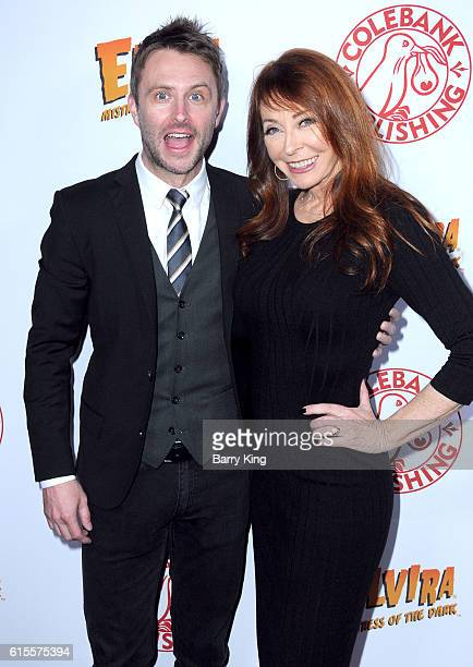 Comedian/tv personality Chris Hardwick and actress Cassandra Peterson aka Elvira attend book launch party for new book 'Elvira Mistress Of The Dark'...