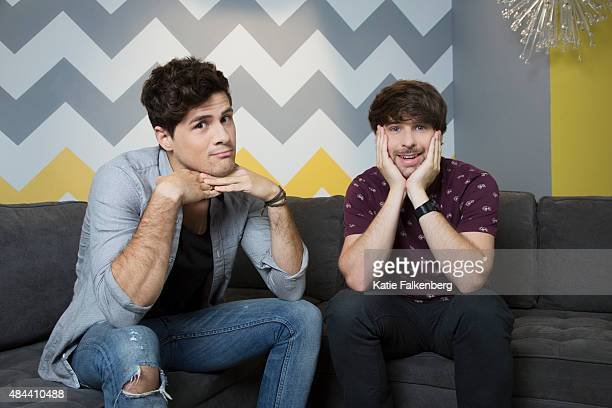 Comedic YouTube duo of SMOSH Anthony Padilla left and Ian Hecox right are photographed Defy Media's studios for Los Angeles Times on July 7 2015 in...