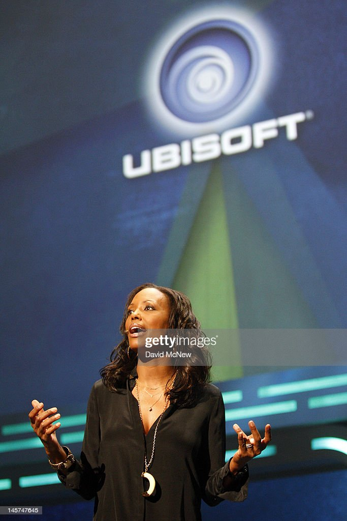 Comedienne <a gi-track='captionPersonalityLinkClicked' href=/galleries/search?phrase=Aisha+Tyler&family=editorial&specificpeople=202262 ng-click='$event.stopPropagation()'>Aisha Tyler</a> presents at the Ubisoft press conference on the eve of the Electronic Entertainment Expo (E3) on June 4, 2012 in Los Angeles, California. E3 is the most important yearly trade show the $78.5 billion videogame industry.