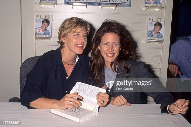 Comedienne Ellen DeGeneres and actress Joely Fisher attend Ellen DeGeneres autographs copies of her new book 'My PointAnd I Do Have One' on August 23...