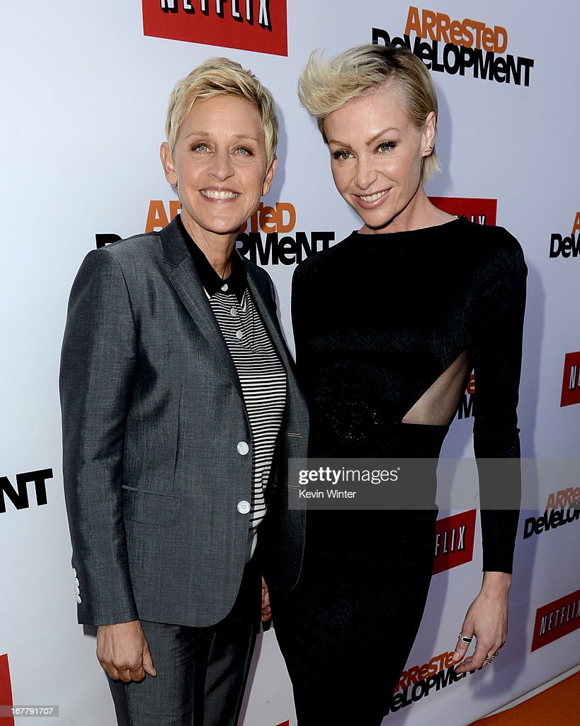 Comedienne Ellen Degeneres (L) and actress <a gi-track='captionPersonalityLinkClicked' href=/galleries/search?phrase=Portia+de+Rossi&family=editorial&specificpeople=204197 ng-click='$event.stopPropagation()'>Portia de Rossi</a> arrive at the premiere of Netflix's 'Arrested Development' Season 4 at the Chinese Theatre on April 29, 2013 in Los Angeles, California.