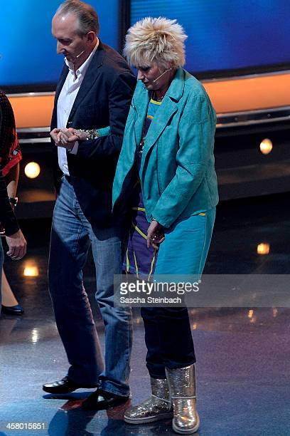 Comedienne Gaby Koester is seen during the taping of the anniversary show '30 Jahre RTL Die grosse Jubilaeumsshow mit Thomas Gottschalk' on December...