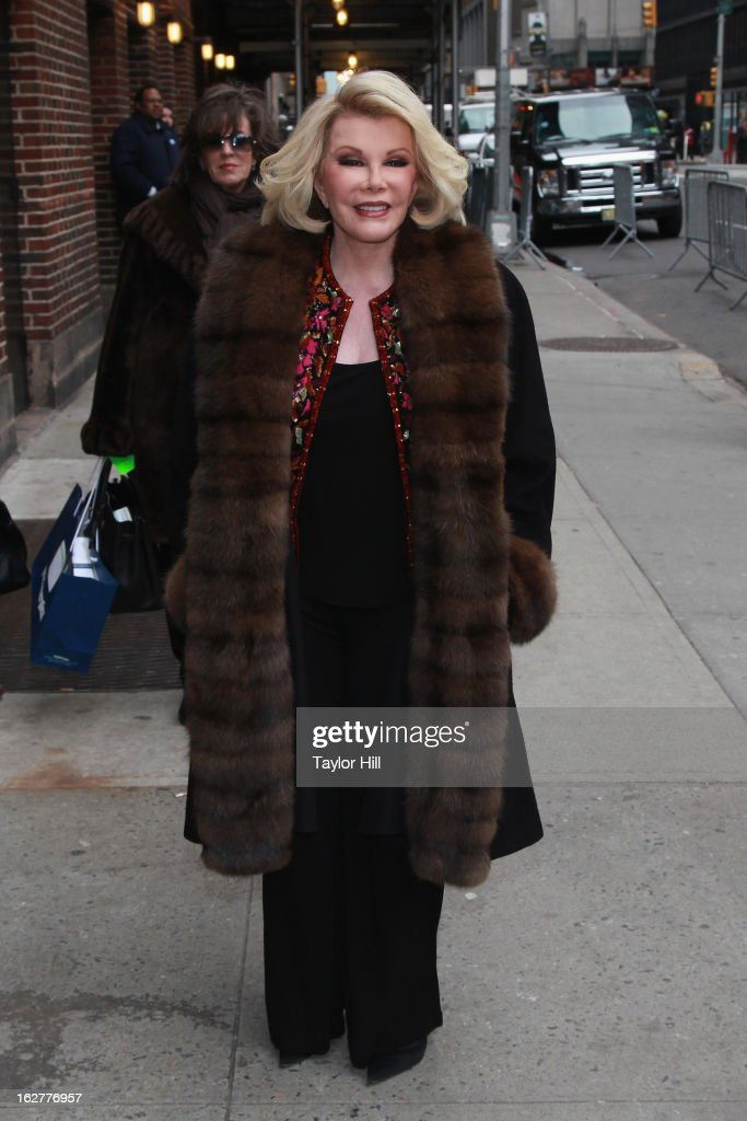 Comedienne <a gi-track='captionPersonalityLinkClicked' href=/galleries/search?phrase=Joan+Rivers&family=editorial&specificpeople=159403 ng-click='$event.stopPropagation()'>Joan Rivers</a> arrive at 'Late Show with David Letterman' at Ed Sullivan Theater on February 26, 2013 in New York City.