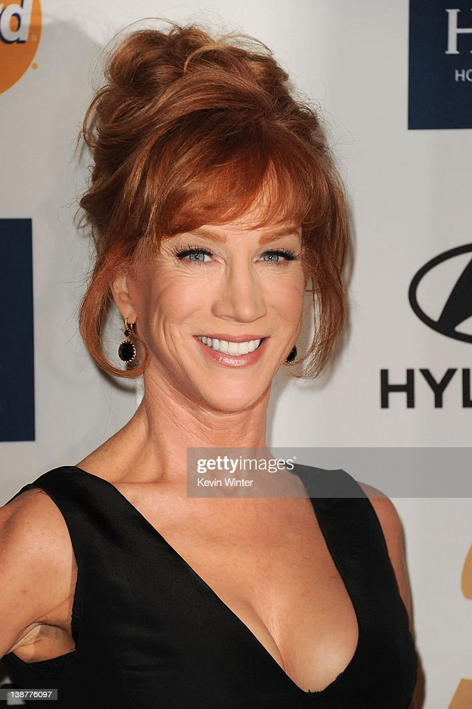 Comedienne <a gi-track='captionPersonalityLinkClicked' href=/galleries/search?phrase=Kathy+Griffin&family=editorial&specificpeople=203161 ng-click='$event.stopPropagation()'>Kathy Griffin</a> arrives at Clive Davis and the Recording Academy's 2012 Pre-GRAMMY Gala and Salute to Industry Icons Honoring Richard Branson held at The Beverly Hilton Hotel on February 11, 2012 in Beverly Hills, California.