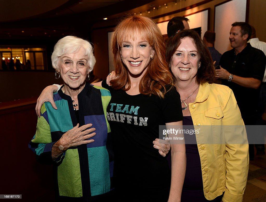 Comedienne <a gi-track='captionPersonalityLinkClicked' href=/galleries/search?phrase=Kathy+Griffin&family=editorial&specificpeople=203161 ng-click='$event.stopPropagation()'>Kathy Griffin</a> (center), her mother <a gi-track='captionPersonalityLinkClicked' href=/galleries/search?phrase=Maggie+Griffin&family=editorial&specificpeople=5085993 ng-click='$event.stopPropagation()'>Maggie Griffin</a> (L) and her sister Joyce pose backstage after <a gi-track='captionPersonalityLinkClicked' href=/galleries/search?phrase=Kathy+Griffin&family=editorial&specificpeople=203161 ng-click='$event.stopPropagation()'>Kathy Griffin</a> performed at the Dolby Theatre on May 4, 2013 in Los Angeles, California.