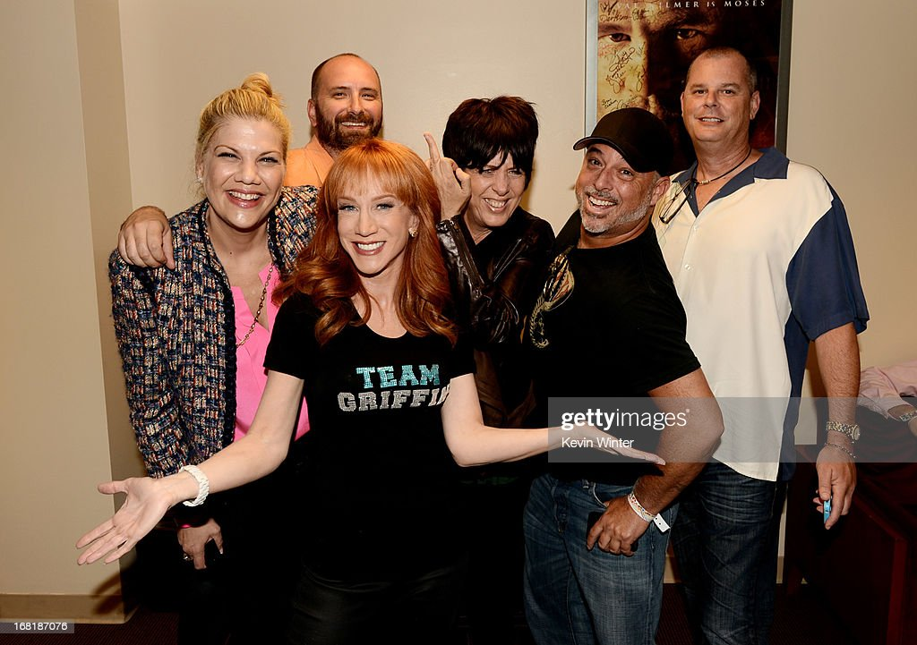 Comedienne <a gi-track='captionPersonalityLinkClicked' href=/galleries/search?phrase=Kathy+Griffin&family=editorial&specificpeople=203161 ng-click='$event.stopPropagation()'>Kathy Griffin</a> (front) poses with actress <a gi-track='captionPersonalityLinkClicked' href=/galleries/search?phrase=Kristen+Johnston&family=editorial&specificpeople=680408 ng-click='$event.stopPropagation()'>Kristen Johnston</a> (L), songwriter <a gi-track='captionPersonalityLinkClicked' href=/galleries/search?phrase=Diane+Warren&family=editorial&specificpeople=234753 ng-click='$event.stopPropagation()'>Diane Warren</a> (center) and friends after performing at the Dolby Theatre on May 4, 2013 in Los Angeles, California.
