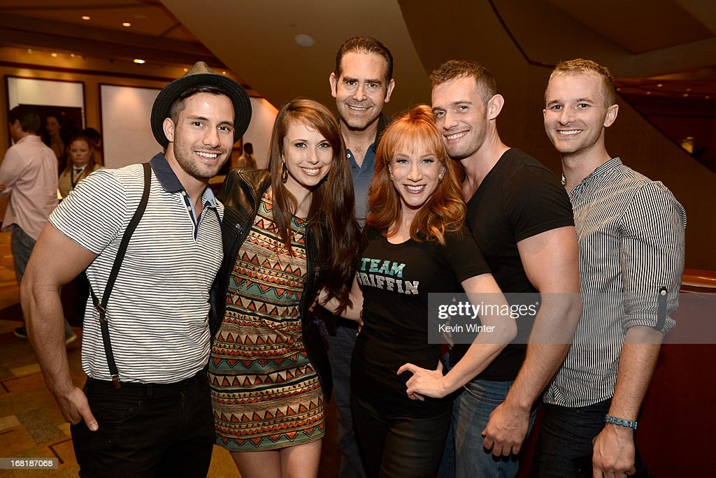 Comedienne <a gi-track='captionPersonalityLinkClicked' href=/galleries/search?phrase=Kathy+Griffin&family=editorial&specificpeople=203161 ng-click='$event.stopPropagation()'>Kathy Griffin</a> (3rd from right) poses with fans after performing at the Dolby Theatre on May 4, 2013 in Los Angeles, California.