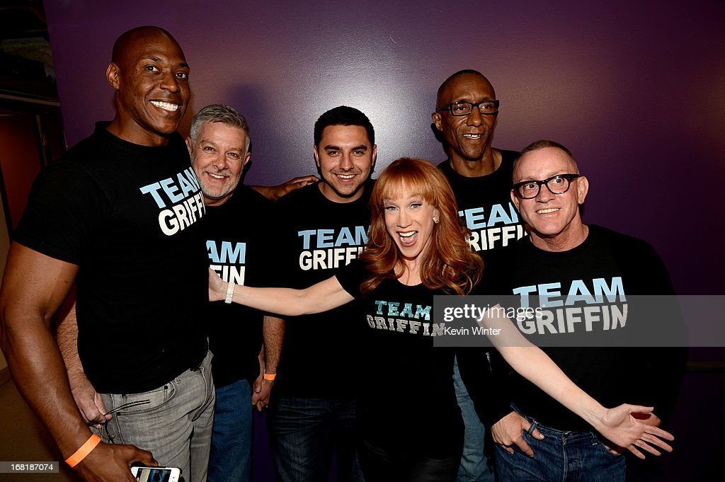 Comedienne <a gi-track='captionPersonalityLinkClicked' href=/galleries/search?phrase=Kathy+Griffin&family=editorial&specificpeople=203161 ng-click='$event.stopPropagation()'>Kathy Griffin</a> poses with fans after performing at the Dolby Theatre on May 4, 2013 in Los Angeles, California.