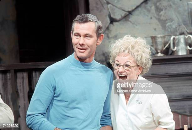 Comedienne Phyllis Diller performs with Johnny Carson on The Tonight Show in July 1968 in Los Angeles California