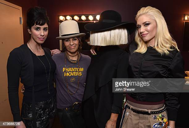 Comedienne Sarah Silverman event cochair Linda Perry musician Sia and musician Gwen Stefani attend An Evening with Women benefiting the Los Angeles...