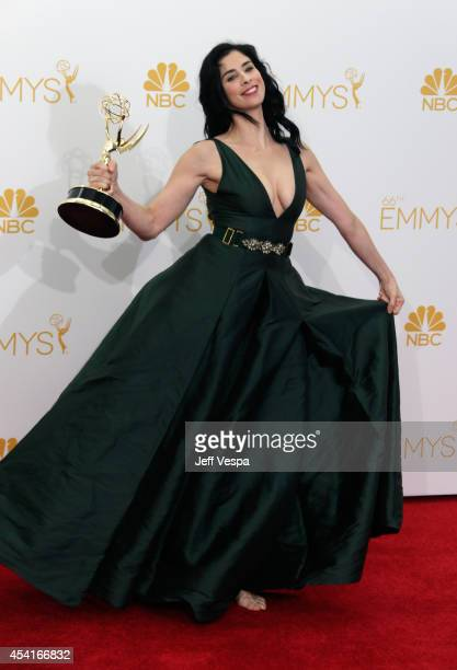 Comedienne Sarah Silverman poses in the press room during the 66th Annual Primetime Emmy Awards at Nokia Theatre LA Live on August 25 2014 in Los...