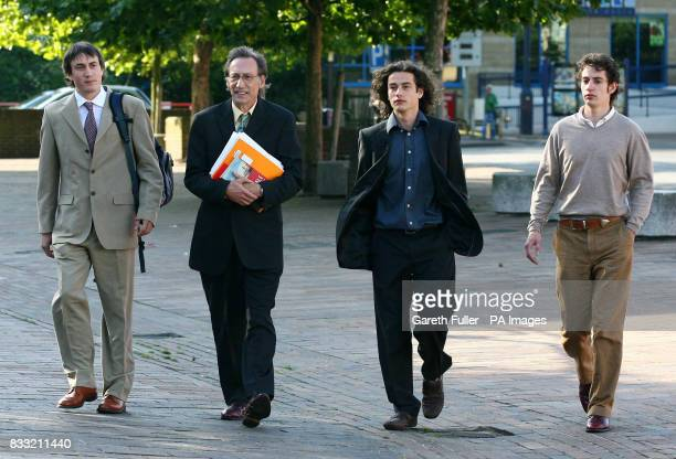 Comedy actor and writer Chris Langham arrives at Maidstone Crown Court in Kent accompanied by his sons Siencyn Langham Glyn Langham and Dafydd...