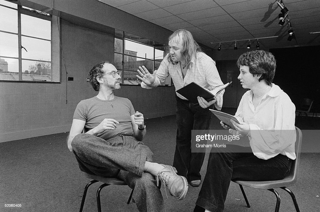 Comedy actor and writer Mel Smith (centre) with poet Roger McGough and actress Alyson Spiro during rehearsals for the West End stage production of McGough's 'Summer With Monica', 17th December 1979.