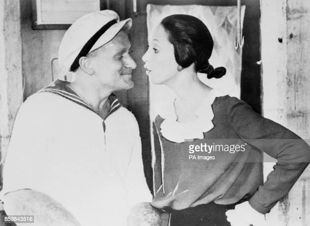 Comedy actor Robin Williams as Popeye and Shelley Duvall as Olive Oil They star in the film adaptation of the famous comic strip which opens at the...