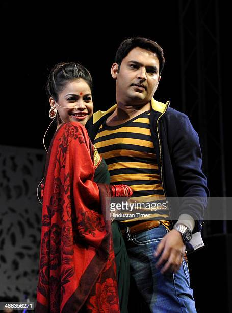 Comedy artists Kapil Sharma and Sumona Chakravarti during an event at GIP Mall in sector 38 A on February 102014 in Noida India