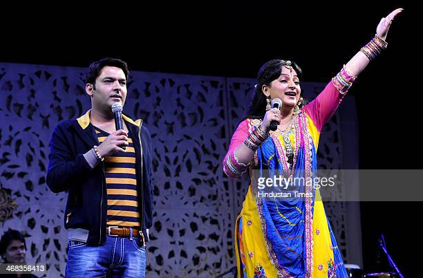 Comedy artists Kapil Sharma and Upasana Singh during an event at GIP Mall in sector 38 A on February 102014 in Noida India