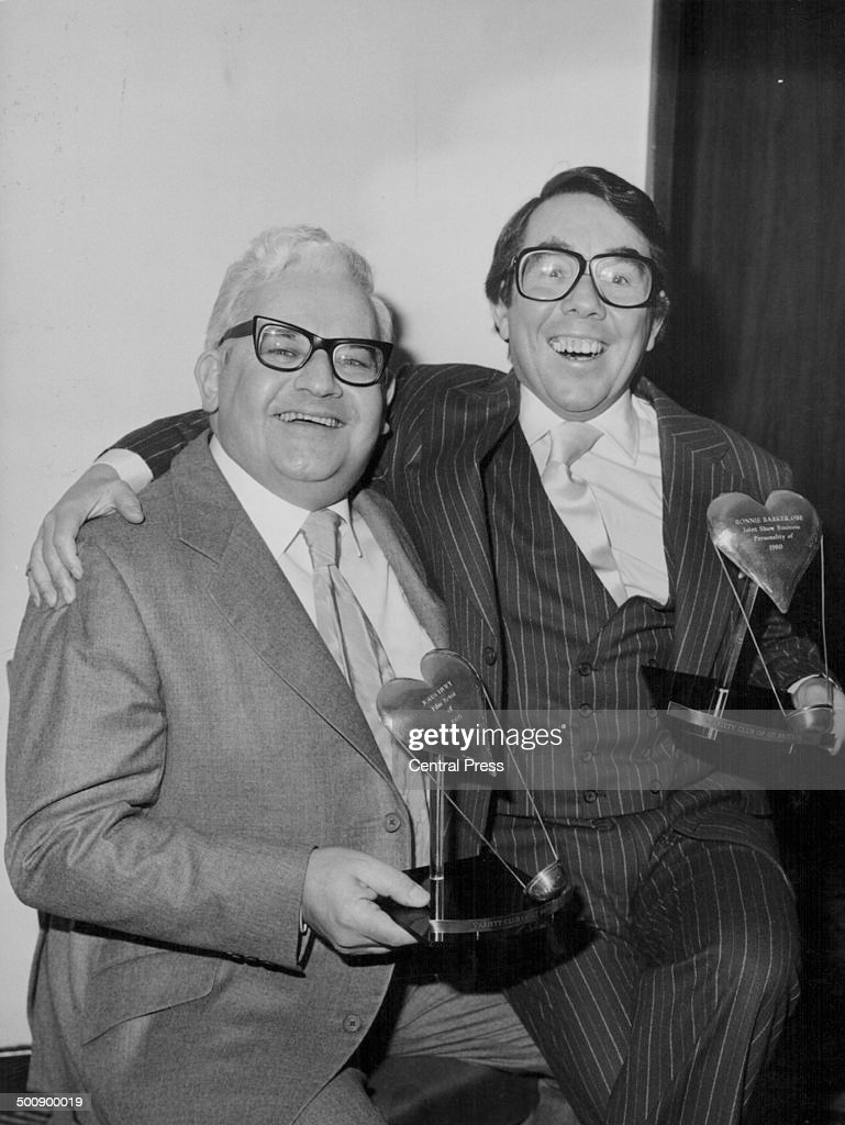 Comedy double act Ronnie Barker and Ronnie Corbett 'The Two Ronnies' holding their awards for Show Business Personalities of 1980 at the Variety Club...