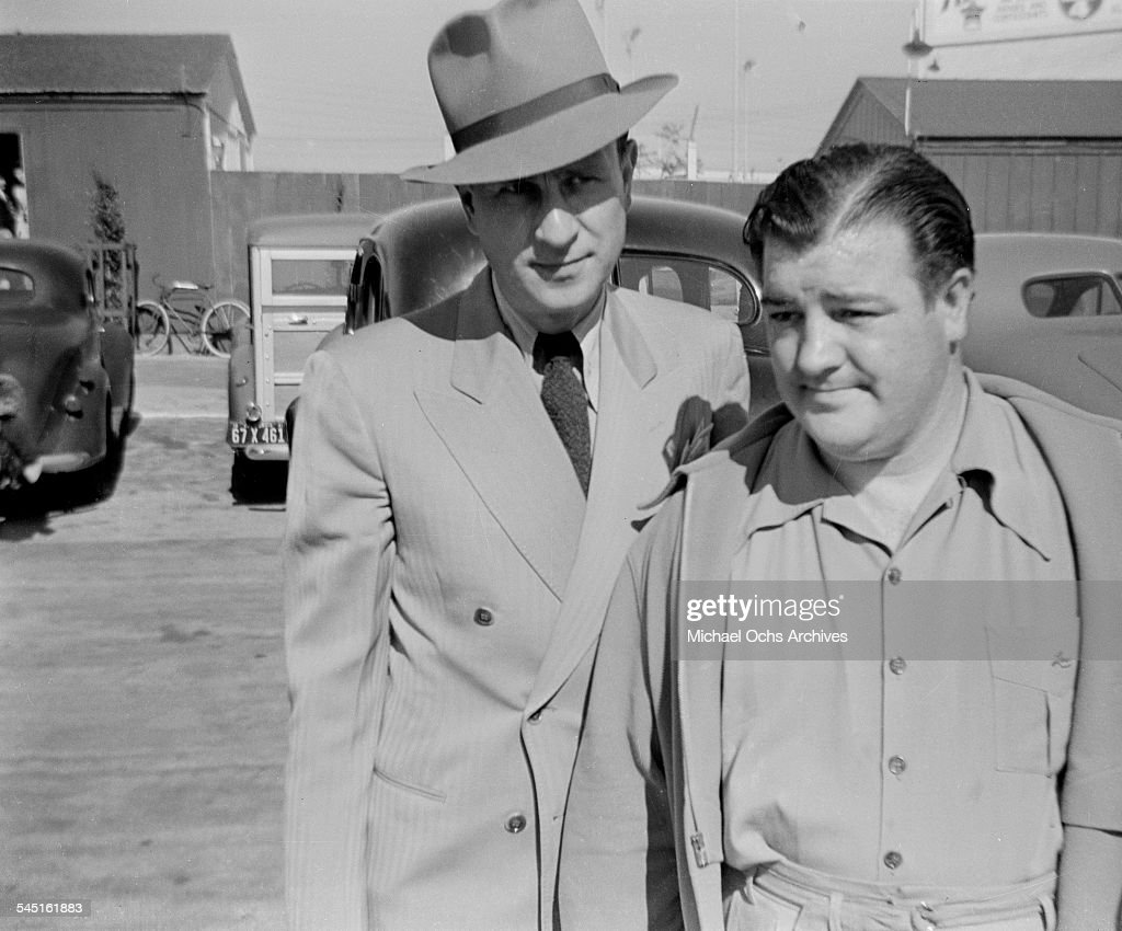 Comedy duo Abbott and Costello arrive to the back lot in Los Angeles,CA.
