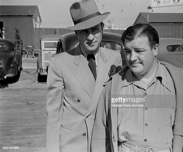 Comedy duo Abbott and Costello arrive to the back lot in Los AngelesCA