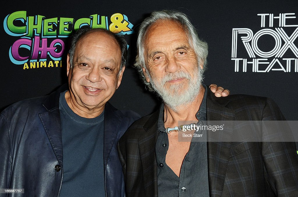Comedy duo (L) Cheech and Chong arrive at 'Cheech And Chong's Animated Movie!' VIP green carpet premiere at The Roxy Theatre on April 17, 2013 in West Hollywood, California.