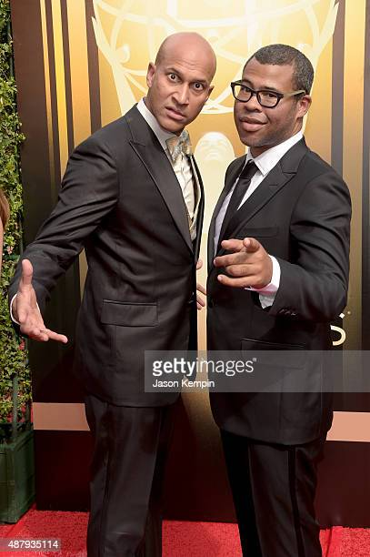 Comedy duo KeeganMichael Key and Jordan Peele attend the 2015 Creative Arts Emmy Awards at Microsoft Theater on September 12 2015 in Los Angeles...