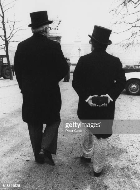 Comedy duo Ronnie Barker and Ronnie Corbett leaving Buckingham Palace in London having both received an OBE 7th February 1978