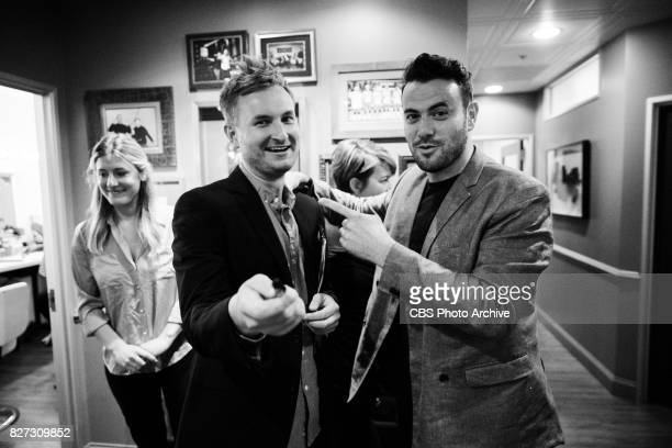 Comedy segment producer Dave Piendak with Executive Producer Ben Winston in the green room during 'The Late Late Show with James Corden' Tuesday...