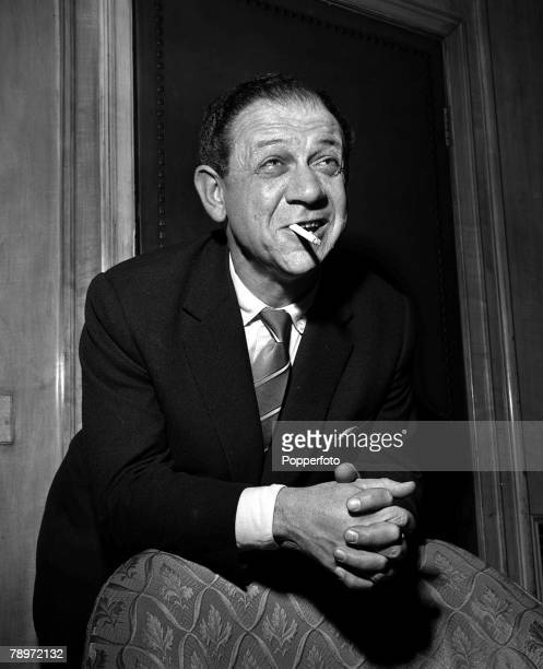 1959 Comedy sitcom and film Actor Sid James star of the film 'Carry On Constable' pictured smoking a cigarette at a reception at the Dorchester Hotel...