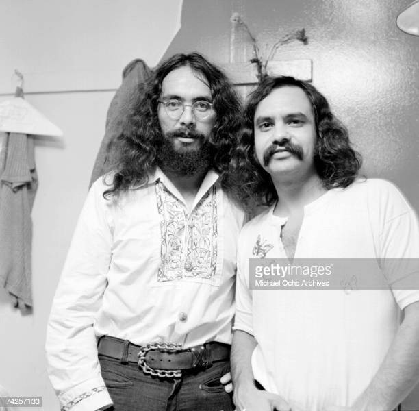 Comedy team Cheech and Chong pose in their dressing room at Doug Weston's Troubadour on September 16 1971 in Los Angeles California
