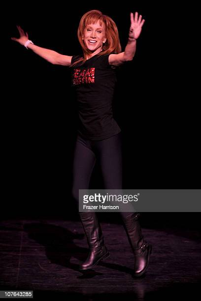 Comeidan Kathy Griffin on stage at the The Gibson Amphitheatre At Universal City Walk where she performed in aid of The Trevor Project on December 16...