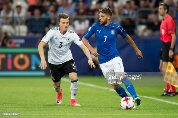 Comenico Berardi of Italy and Yannick Gerhardt of Germany during the UEFA European Under21 Championship 2017 Group C match between Italy and Germany...