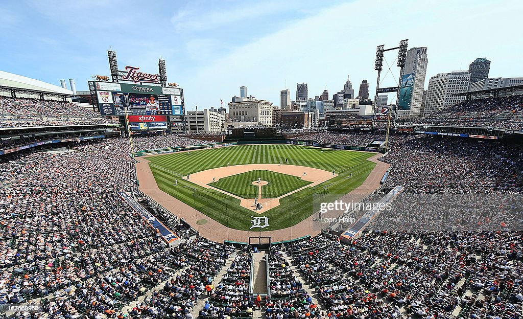 Comerica Park during the game between the Detroit Tigers and the Atlanta Braves and a selout crowd of 42,881 on April 27, 2013 in Detroit, Michigan.