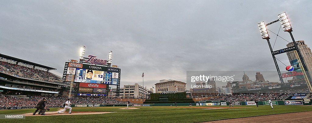Comerica Park is shown during the game between the Cleveland Indians and the Detroit Tigers on May 10, 2013 in Detroit, Michigan. The Tigers defeated the Indians 10-4.