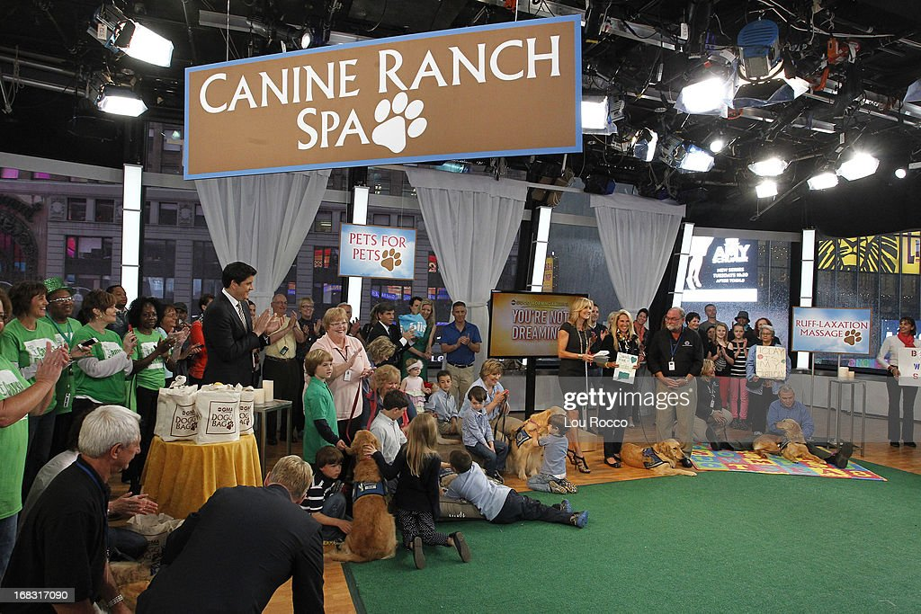 Comfort Dogs Surprised guests on 'Good Morning America,' 5/8/13, airing on the ABC Television Network. (Photo by Lou Rocco/ABC via Getty Images) AUDIENCE, JOSH ELLIOTT, LARA SPENCER, DOG HANDLERS