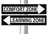 Modified one way signs indicating  Comfort Zone and Learning Zone