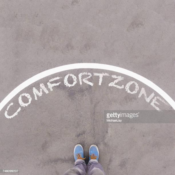Comfort Zone Written In Chalk On Street