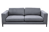 Modern grey sofa isolated on white background