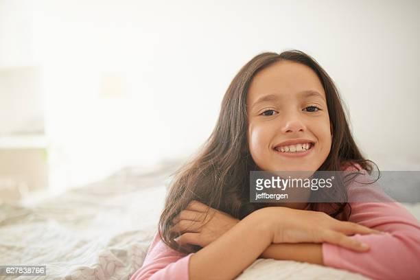Comfy in her bedroom