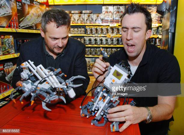 Comic actor and writer Charlie Higson left and Virgin Breakfast DJ Christain O'Connell withLego Mindstorms a computerised robotic toolset which can...