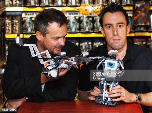 Comic actor and writer Charlie Higson left and Virgin Breakfast DJ Christain O'Connell with Lego Mindstorms a computerised robotic toolset which can...