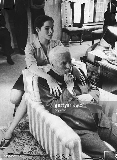 Comic actor Charlie Chaplin with his daughter Geraldine on his 70th birthday at the Manoir de Ban Switzerland 16th April 1959