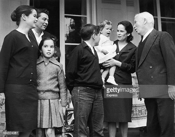 Comic actor Charlie Chaplin with his wife Oona O'Neill and their children on his 70th birthday at the Manoir de Ban Switzerland 16th April 1959 Left...