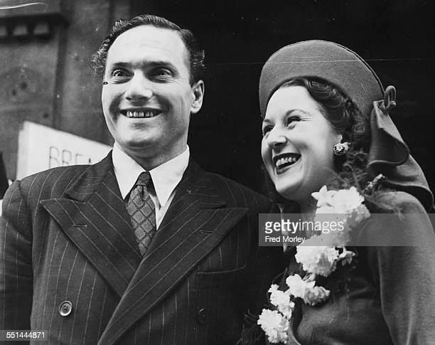 Comic actor Dick Emery and his new bride Irene Ansell outside Marylebone Town Hall following their wedding London August 19th 1946