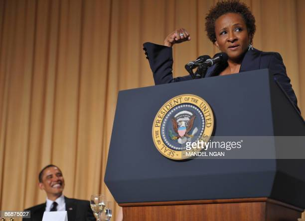 Comic actress Wanda Sykes performs as US President Barack Obama looks on during the White House Correspondents� Association annual dinner on May 9...