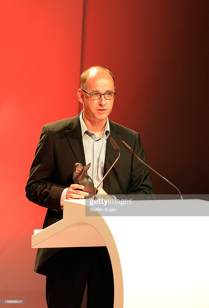 Comic artist Reinhard Kleist receives his award at the B.Z. Kulturpreis on January 18, 2013 in Berlin, Germany.