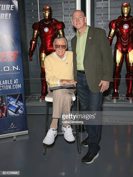 Comic book icon Stan Lee and Clark County Commissioner Larry Brown pose at Marvel Avengers STATION at the Treasure Island Hotel Casino on November 18...