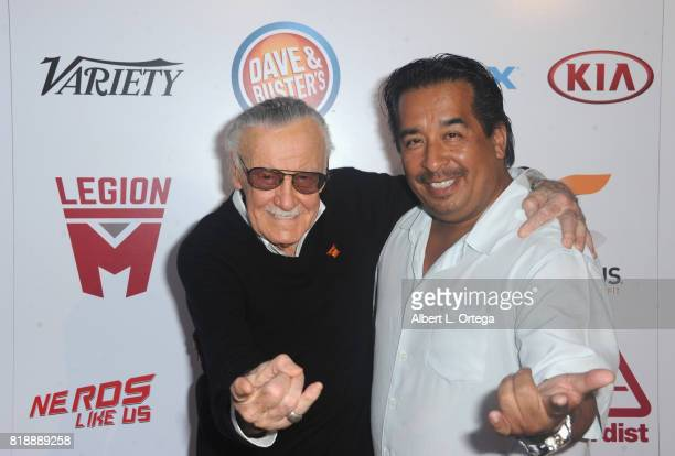 Comic Book Icon Stan Lee and manager Max Anderson attend his 95th Birthday House Party held at Private Residence on July 18 2017 in Los Angeles...