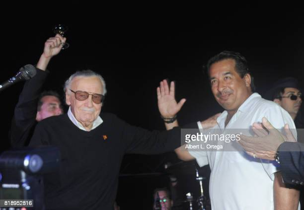 Comic Book Icon Stan Lee and manager Max Anderson on stage at his 95th Birthday House Party held at Private Residence on July 18 2017 in Los Angeles...