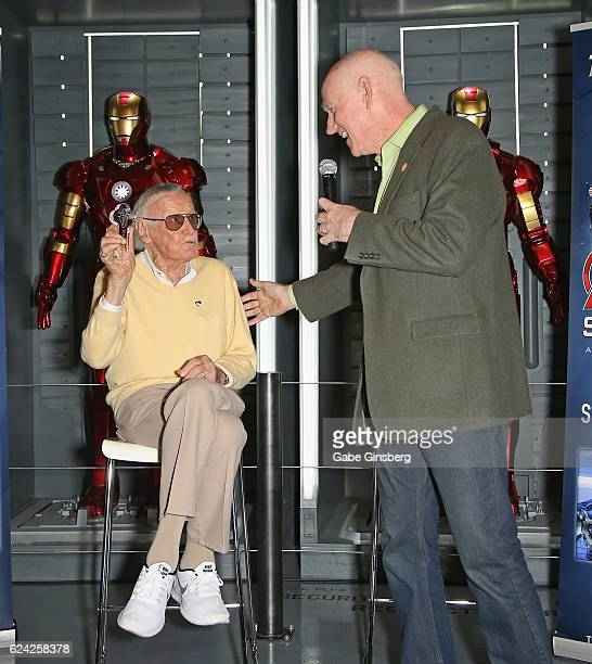 Comic book icon Stan Lee reacts after receiving a ceremonial key to the Las Vegas Strip from Clark County Commissioner Larry Brown at Marvel Avengers...
