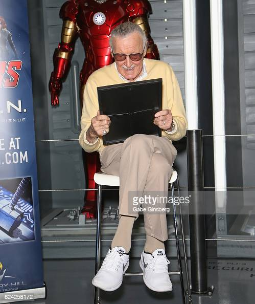 Comic book icon Stan Lee reacts after receiving proclamations and a ceremonial key to the Las Vegas Strip from Clark County at Marvel Avengers...